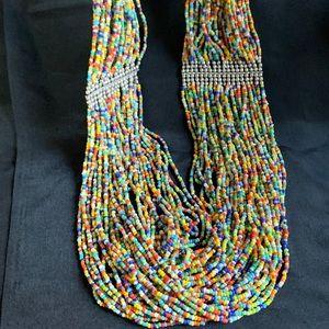 Wide Multi Strand Multi Color Glass Bead Necklace